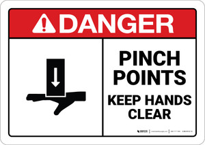 Danger: Warning Pinch Points Watch Hands ANSI - Wall Sign