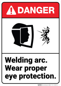 Danger: Welding Arc Wear Eye Protection ANSI - Wall Sign