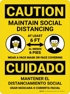 Caution: Maintain Social Distancing Bilingual Portrait - Wall Sign