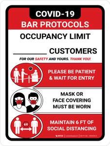 Covid-19 Bar Occupancy Customers Red Portrait - Wall Sign
