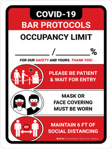 Covid-19 Bar Occupancy Red Portrait - Wall Sign