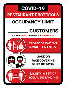 Covid-19 Restaurant Occupancy Customers Red Portrait - Wall Sign