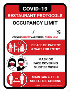 Covid-19 Restaurant Occupancy Red Portrait - Wall Sign