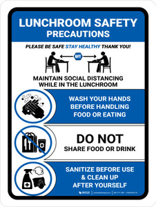 Lunchroom Safety Precautions Blue Portrait - Wall Sign