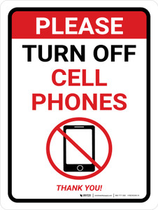 Please Turn Off Cell Phones - Thank You! With Icon Portrait - Wall Sign