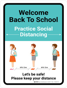 Welcome Back to School - Practice Social Distancing Portrait - Wall Sign