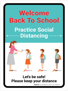 Welcome Back to School (Red) - Practice Social Distancing Portrait - Wall Sign