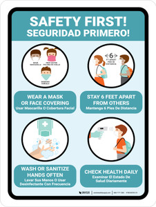 Safety First! Back to School Covid-19 Safety Precaution Bilingual Portrait - Wall Sign