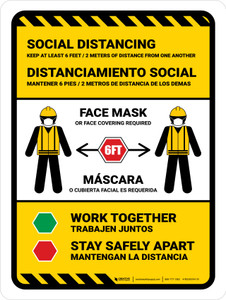 Work-Site Covid-19 Safety Precautions (Face Mask) with Icons Bilingual Portrait - Wall Sign