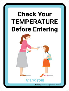 Check Your Temperature Before Entering - Back to School with Icon Portrait - Wall Sign