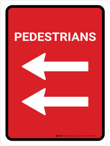 Pedestrians Double Left Arrow (Red) Portrait - Wall Sign