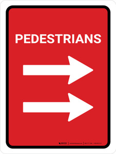 Pedestrians Double Right Arrow (Red) Portrait - Wall Sign