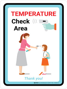 Temperature Check Area - Back to School Portrait - Wall Sign