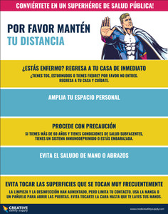 Be a Public Health Superhero! Physical Distancing - Spanish - Poster