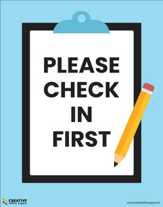Please Check In First (Checkboard) - Poster