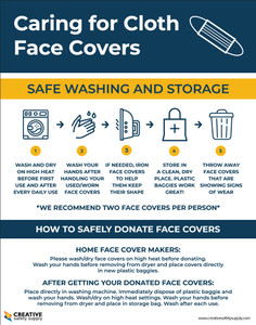 Caring For Cloth Face Covers - Safe Washing and Storage - Poster