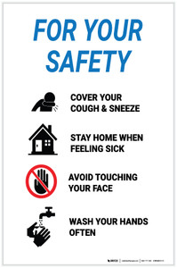 For Your Safety: Please Cover Your Cough Or Sneeze - Label