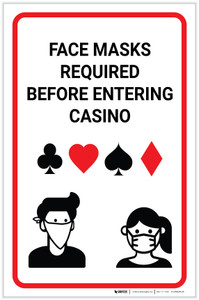 Face Masks Required Before Entering Casino Portrait - Label