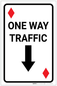 Casino - One Way Traffic Diamond Playing Card with Arrow Down Portrait - Label