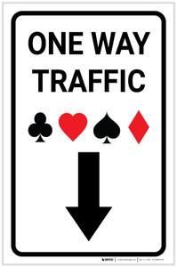 Casino - One Way Traffic with Arrow Down Portrait - Label