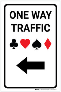 Casino - One Way Traffic with Arrow Left Portrait - Label