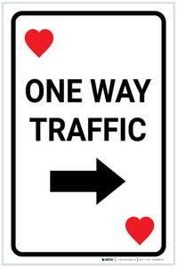 Casino - One Way Traffic Hearts Playing Card with Arrow Right Portrait - Label