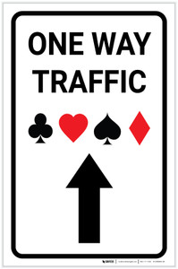 Casino - One Way Traffic with Arrow Up Portrait - Label