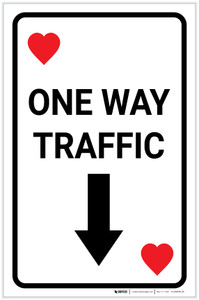 Casino - One Way Traffic Hearts Playing Card with Arrow Down Portrait - Label