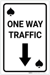 Casino - One Way Traffic Spades Playing Card with Arrow Down Portrait - Label