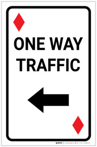 Casino - One Way Traffic Diamond Playing Card with Arrow Left Portrait - Label