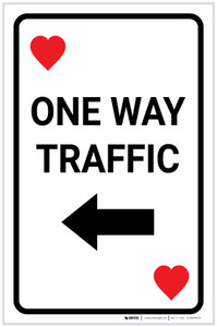 Casino - One Way Traffic Heart Playing Card with Arrow Left Portrait - Label