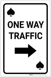 Casino - One Way Traffic Spades Playing Card with Arrow Right Portrait - Label