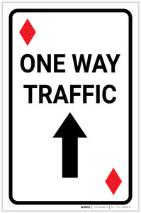 Casino - One Way Traffic Diamond Playing Card with Arrow Up Portrait - Label