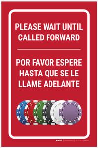 Casino Cage - Please Wait Until Called Forward Bilingual Portrait with Emoji - Label