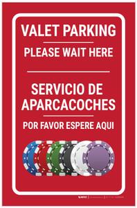 Casino Valet Parking - Please Wait Here Bilingual Portrait with Emoji - Label