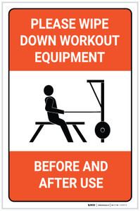 Please Wipe Down Workout Equipment Before and After Use - Label