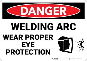 Danger: PPE Welding Arc Wear Eye Protection Face Mask - Wall Sign