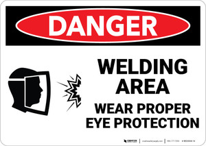 Danger: PPE Welding Area Wear Eye Protection - Wall Sign