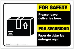 For Safety Leave Deliveries Here Landscape - Label