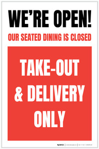 We're Open Our Seated Dining Is Closed Take Out Delivery Only - Red Portrait - Label