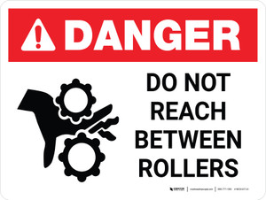 Danger: Do Not Reach Between Rollers with Icon - Wall Sign