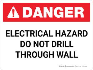 Danger: Electrical Hazard - Do Not Drill Through Wall - Wall Sign