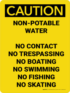 Caution: Non-Potable Water - Prohibited List - Wall Sign