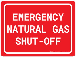 Emergency Natural Gas Shut-Off - Wall Sign
