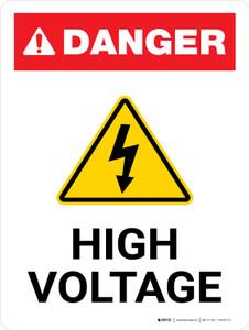Danger: High Voltage with Hazard Icon Portrait - Wall Sign