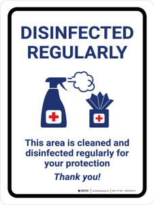 Disinfected Regularly with Icons Portrait - Wall Sign
