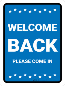 Welcome Back, Please Come In with Icons Portrait - Wall Sign