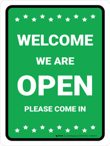 Welcome We Are Open - Please Come In with Icons Green Portrait - Wall Sign