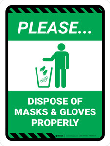 Please Dispose of Masks & Gloves Properly Green with Icon Portrait - Wall Sign