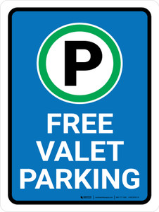 Free Valet Parking with Icon Portrait - Wall Sign